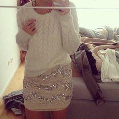 white sweater, sparkle skirt