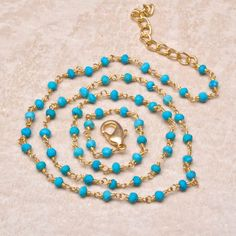 "BLUE TURQUOISE GEMSTONE COPPER RONDELLE BEADS NECKLACE 18"" - 20"" #ChonibeadsCo"