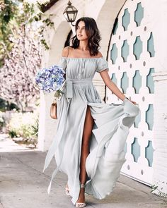 Off the shoulder mint maxi dress