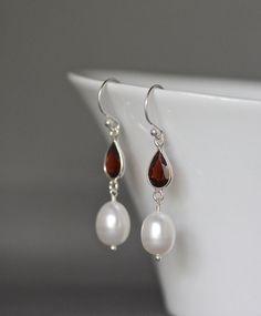 Garnet and Pearl Earrings, Pearl Dangles, January Birthstone, Garnet Earrings, Freshwater Pearls, Bridal Jewelry, Birthday Gift, Red Garnet - pinned by pin4etsy.com