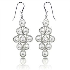 Silver chandeleier earrings with freshwater pearls by Imperial