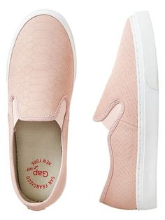Snakeskin textured slip-on sneakers