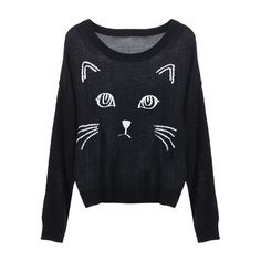 Knitted Cat Face Print Black Jumper ($40) ❤ liked on Polyvore
