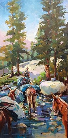 """Approaching Blue Lake by Michele Usibelli    24x12""""  Oil"""