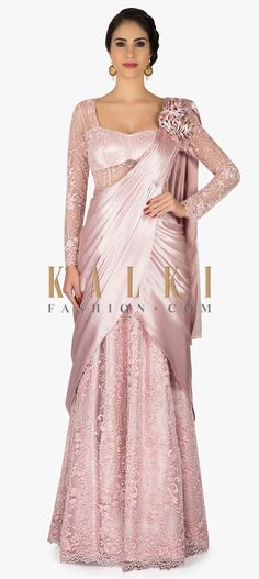 Lilac pink saree gown with pre stitched pallav and 3D flower only on Kalki