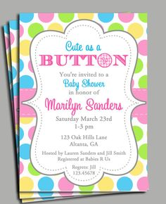 Cute As A Button Invitation Printable Or Printed With FREE SHIPPING   Baby  Shower, Birthday   You Pick Colors