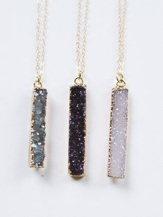 Black Druzy Bar Necklace