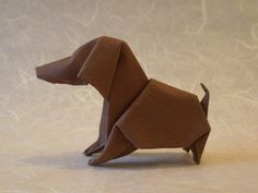 Origami Dogs and the books showing you how to make them. Learn more on Gilad's Origami Page. Gallery page 3 of Origami Paper Folding, Paper Crafts Origami, Oragami, Origami Art, Diy Paper, Origami Design, Akira, Dachshund, Paper Toy