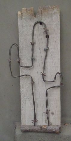 Mounted barbwire cactus on reclaimed fencing with horse shoe nails by DumpsterDogArt on Etsy