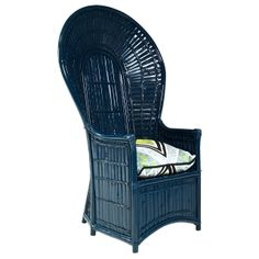 Painted Navy Blue Lacquered Fan Chair | From a unique collection of antique and modern chairs at http://www.1stdibs.com/furniture/seating/chairs/