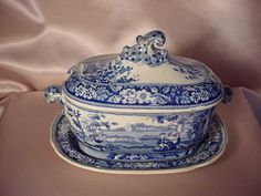 """ANTIQUE """"Blind Boy"""" pattern STAFFORDSHIRE SAUCE TUREEN WITH TRAY"""