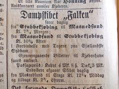 Dampskibet FALKEN. Annonce i Stubbekøbing Avis, 1872. Der sejles en daglig morgen- og aftentur mellem Stubbekøbing og Masnedsund, samt en eftermiddagstur mellem Masnedsund og Stege. Fra Jimmy Nielsens udklipsarkiv.