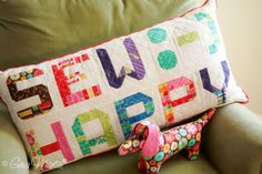 Pattern & Hue by Gina Martin.  use these smaller letters, scaled down 50% from original pattern, to make a banner.  Has a link for punctuation too.