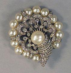 "Cornucopia Brooch, Eisenberg: ca. 1946, sterling silver, faux pearls, rhinestones.    Marked: ""Eisenberg"""