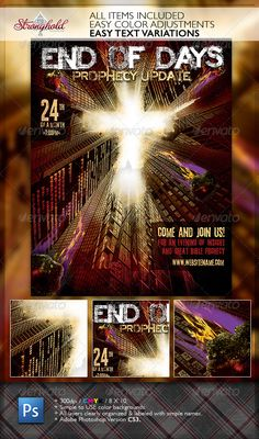 Prophecy Church Flyer Template — Photoshop PSD #end times #prophecy • Available here → https://graphicriver.net/item/prophecy-church-flyer-template/1783807?ref=pxcr