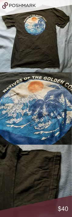 Natives of the golden coast brandy melville tshirt Selling my natives tee I feel like I'm a tad ocd...and don't want this because if I ruin it, or it fades, or etc I'm gonna be sad  also I'm indecisive of wether or not to keep this now that I'm typing this lol.   No tears, wearing out, fading.  Still in great condition!  Love the design and everything   Taking offers, possibly don't mind keeping. Osfm Brandy Melville Tops