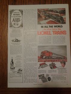Vintage Collectible Large Lionel Train Print Ad 1952