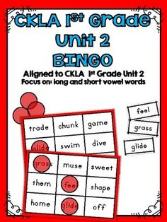 CKLA Skills 1st Grade Unit 2 BINGOThis activity is great for stations and workshops. The specific short and long vowel spelling patterns in this activity come from the CKLA 1st Grade Skills Unit 2.Includes 8 different BINGO cards featuring short and long vowel words with sounds/sound spellings that are learned and reviewed in unit 2Includes one master sheet of all words to use for the BINGO callerCheck out all of my other CKLA Resources too!