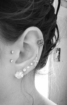 Anti Tragus, Lobes and Cartilage. Excuse the bump just took out my daith piercing. <3