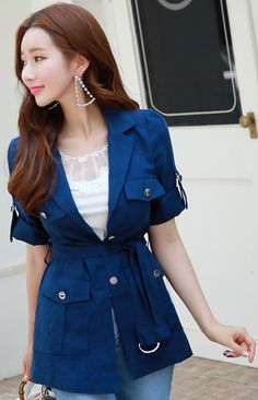 StyleOnme_Belted Linen Collared Jacket #blue #linen #jacket #koreanfashion #kstyle #kfashion #dailylook #elegant #seoul