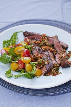 CHURRASCO STEAK and ARUGULA with CANDIED PEPPER CHIMICHURRI