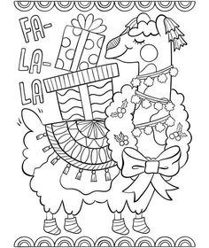 fa la la llama llama christmas christmas drawing llama alpaca coloring sheets