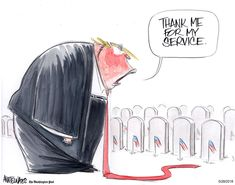 A presidential Memorial Day message - The Washington Post.tooting his own horn, again. Political Satire, Political Cartoons, Trump Cartoons, Memorial Day Message, Donald Trump, Us Politics, The Washington Post, Trending Memes, Twitter Sign Up