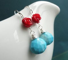 Red Coral & Turquoise Earrings Coral and turquoise by BriguysGirls, $34.00