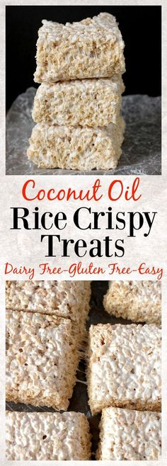 Coconut Oil Rice Crispy Treats- 3 ingredients and 10 minutes until these easy treats are ready! Gluten free, dairy free, and so delicious! Make sure you buy Rice Crispy without malt. Malt is full of gluten. Look for gluten free Rice Crispys. Vegan Desserts, Delicious Desserts, Dessert Recipes, Recipes Dinner, Dessert Bars, Party Desserts, Mini Desserts, Think Food, Healthy Sweets