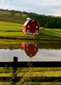 Rural Red Barn Reflection, Edray Road, West Virginia