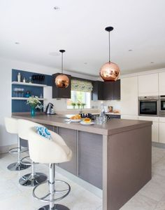 Modern-style Kitchen with Globe Pendant Lights and White Bar Stools - The Room Edit