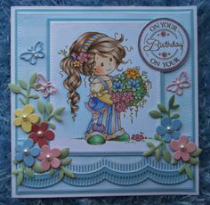Wee stamps Ruby by Sylvia Zett, coloured with Copics, die cuts by Marianne Design