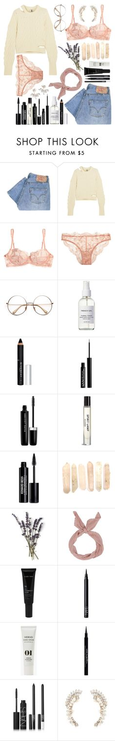 """◌p e a c h  f u z z◌"" by lilsavageboo ❤ liked on Polyvore featuring Levi's, Topshop Unique, La Perla, French Girl, Givenchy, NYX, Marc Jacobs, Edward Bess, French Kiss and Allies of Skin"