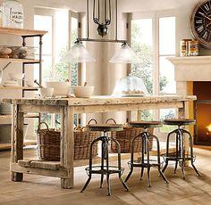 Salvaged Wood Kitchen Island Collection via Restoration Hardware Homemade Kitchen Island, Diy Kitchen, Kitchen Dining, Kitchen Decor, Wooden Kitchen, Kitchen Ideas, Reclaimed Kitchen, Kitchen Tables, Kitchen Stools