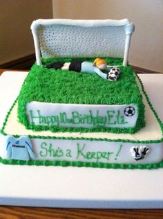 Soccer (Goalie) Birthday Cake (except you're never supposed to go on your back or stomach as a goalie)