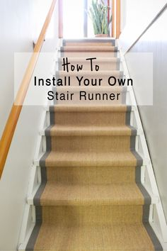 How to Install a Stair Runner Yourself with $200 and a Staple Gun. This tutorial is simple and is an affordable way to update your stairs in a weekend!