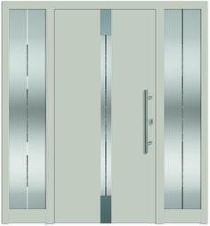 Modell Deneb 2 Aluminium-Eingangstüre in grau mit 2 Seitenteilen - Außenansicht! Sternstunden-Türen erhätlich bei Fenster-Schmidinger aus Gramastetten in Oberösterreich! #doors #türen #alutüren #sternstunden