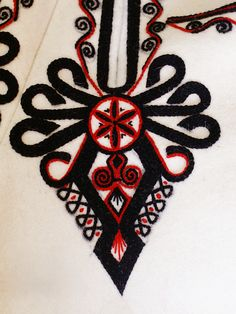 Embroidery motif on the trousers: folk costume from Podhale region, Poland.