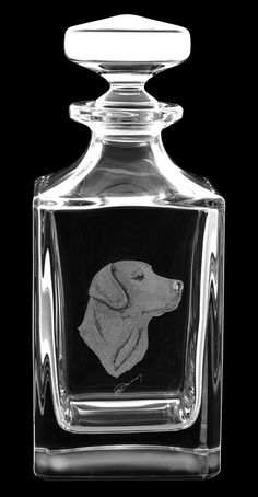 Royal Brierley quotHand Engraved Decanter  Labradorquot