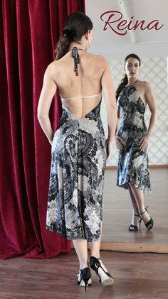Tango dress black lace pattern lycra