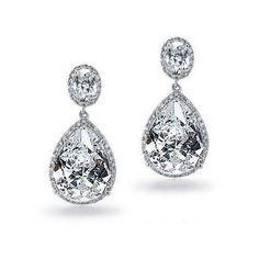 Bling Jewelry Silver Tone Vintage Pear Oval CZ Bridal Earrings ($60) ❤ liked on Polyvore featuring jewelry, earrings, clear, druzy earrings, clear earrings, drusy earrings, clear crystal drop earrings and bridal teardrop earrings