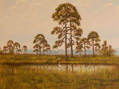 Rare Highwaymen RA McLendon Original Oil Painting on Canvas Florida Pine Trees