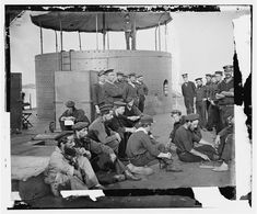 Down time on the deck of the USS Monitor   Image, Source: digital file from original neg. of left half