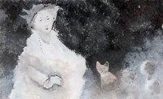 Andre Legare, la femme et son chat. Acrylique