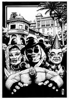 Puppet Master mock up cover in pen and ink with Blade, Jester, Tunneler and Pinhead in front of the Bodega Bay Inn