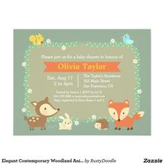 Elegant Contemporary Woodland Animal Baby Shower 4.25x5.5 Paper Invitation Card
