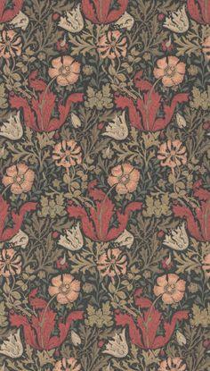 Compton Brown/Orange tapet från William Morris & Co - Tapetorama Oxford Street, Wolverhampton, William Morris, Repeating Patterns, Wood Blocks, Textile Design, Printed Cotton, Colours, Orange