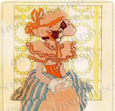 Victorian Lady in Orange Art Nouveau Antique French Fashion Postcard Altered Version 2 Digital Scan