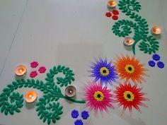 Simple Rangoli Border Designs, Rangoli Borders, Rangoli Patterns, Rangoli Ideas, Colorful Rangoli Designs, Rangoli Designs Diwali, Beautiful Rangoli Designs, Kolam Designs, Easy Rangoli