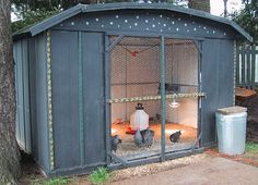 Chicken coop- could use one of those old metal sheds and build a screen door.
